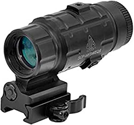 UTG 3X Magnifier with Flip-to-side QD Mount, W/E Adjustable , Black