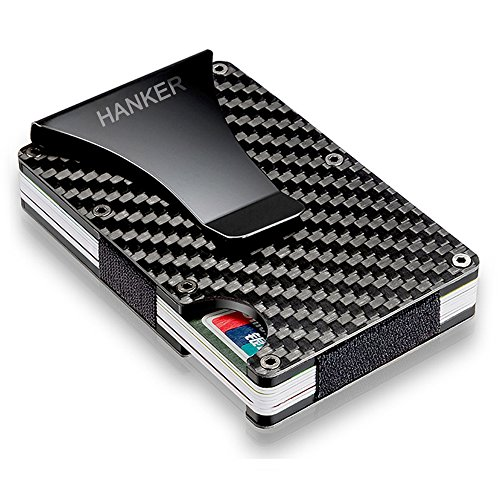 Carbon Fibre Slim Front Pocket Minimalist Wallet Money Clip Credit Card Holder RFID Blocking