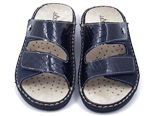 CINZIA SOFT sandalo in pelle lucida stampata e camoscio colore blu, zeppa 4cm., 2812 E17