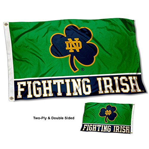 (College Flags and Banners Co. Notre Dame Fighting Irish Shamrock Double Sided Flag)