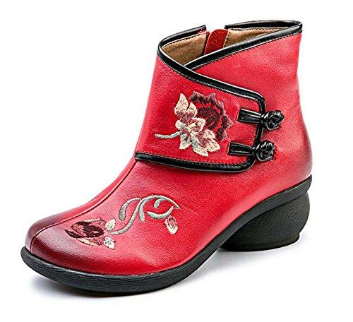 Redonda Flores Vestido Costura Chino Chunkly Casuales Hebilla Caballero cm Cuero 4 Talón Zapatos Eu 34 Tamaño 5 40 Punta Martin Red Boots Cremallera Botas Mujeres Boots Bordado de HWqwCZ5q