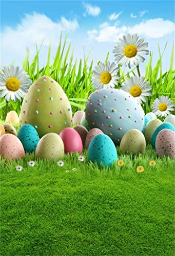 CSFOTO 3x5ft Background Easter Eggs on Spring Meadow Photography Backdrop Painted Eggs Florets Daisies Blue Sky April Religion Festival Celebration Child Baby Photo Studio Props Polyester Wallpaper ()