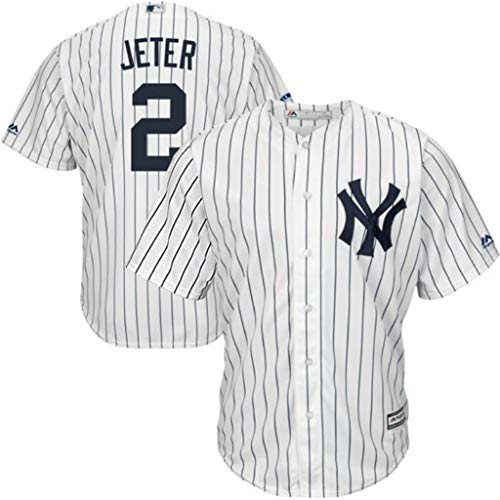 Majestic New York Yankees MLB Mens Derek Jeter #2 Cool Base Replica Player Jersey White Pinstripe Big & Tall Sizes (4XT)