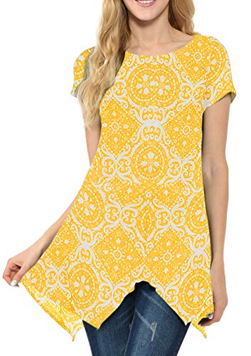 (MIROL Womens Summer Short Sleeve Floral Print Irregular Hem Asymmetrical Loose Fit Tunic Tops (Small, Yellow Flower))