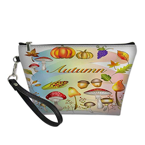 makeup bag pouchcosmetic carrying bagVector and illustration of Autumn theme set orange color pumpkin sweet corn grape fruits forest mushrooms wild flowers f 8.5