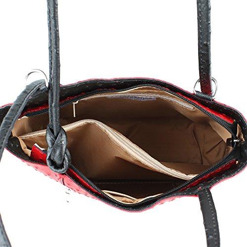 Borse cuir Chicca Modèle Fabriqué Cm en femme d'autruche à Italie 28x30x9 Rouge noir véritable en bandoulière Sac wYUq7f4