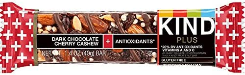 KIND Bars, Dark Chocolate Cherry Cashew + Antioxidants, Gluten Free, Low Sugar, 1.4oz