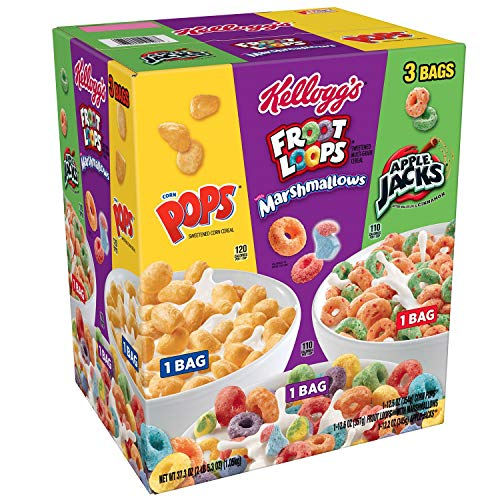 Kellog's TriFun Family Cereal Variety Pack of 3 (37.3 oz) With Apple Jacks, Marshmallows, Pops Great Variety Pack