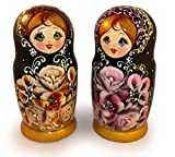 """Vintage Nesting Dolls Matryoshka with Flowers - Unique Stacking Dolls - Wooden Babushka Doll of 5 pc set - Handmade Russian Gift - 6,3"""" Tall offers"""