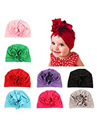 7835efc0390 Wellwear 8 Pcs Baby Girl Hats Turbans Headband Cap for Infant Toddlers Kids