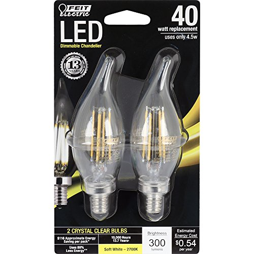 Feit Electric BPCFC40/827/LED/2 Decorative Clear Glass Filament Led Dimmable 40W Soft White Flame Tip Chandelier Bulb -