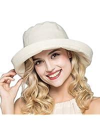 HH HOFNEN Summer Cotton Linen Sun Hats for Women Boonie Fishing Bucket Hat