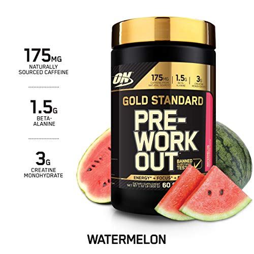 OPTIMUM NUTRITION Gold Standard Pre-Workout with Creatine, Beta-Alanine, and Caffeine for Energy, Keto Friendly, Watermelon, 60 Servings (Best Pre Workout With Beta Alanine)