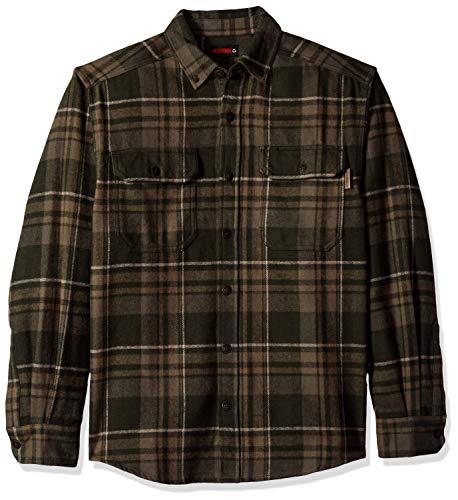 Wolverine Men's Glacier Heavyweight Long Sleeve Flannel Shirt, Dark Olive Plaid X-Large (Best Heavyweight Flannel Shirt)