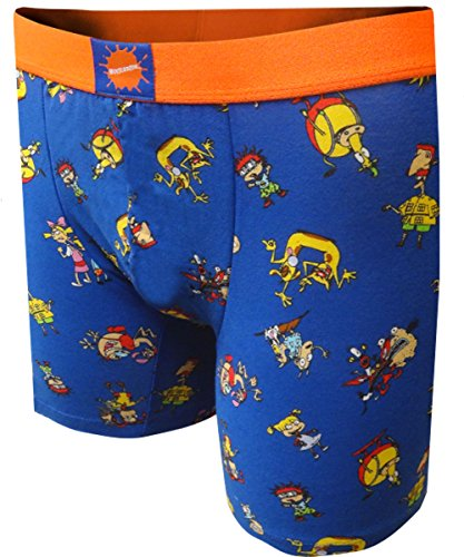 Nickelodeon Cartoon TV Characters Blue Boxer Brief (X-Large) (Adult Cartoon Characters)