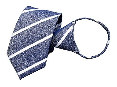 Funny Microfiber Necktie - Men's Navy White Texture Zip Ties Microfiber Striped Neckties Gifts for Husband