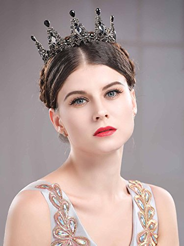 Chicer Baroque Wedding Crown Tiara Queen Princess Vintage Rhinestone Tiara Accessories For Women and Girls(Black). by Chicer (Image #1)