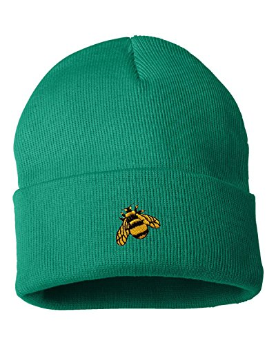 (One Size Kelly Adult Bumble Bee Embroidered Cuffed Knit Beanie Cap )