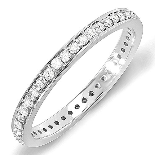 048-Carat-ctw-14K-White-Gold-Round-Diamond-Ladies-Wedding-Eternity-Band-Stackable-Ring-12-CT