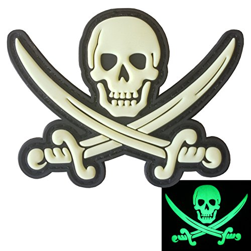 LEGEEON Calico Jack Skull Pirate Jolly Roger Morale Tactical ISAF PVC Rubber 3D Touch Fastener Patch
