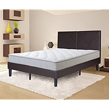 olee sleep 14 inches faux leather wood slat bed frame with headboard bed frame foundation brown 14pb04q queen