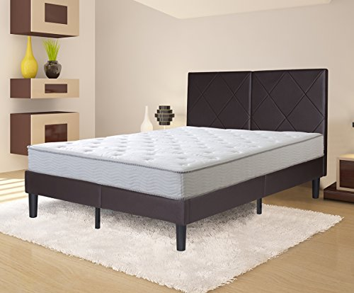 (Olee Sleep 14 Inch Dura Metal Faux Leather Wood Folding Platform Bed Frame Full Size ( brown)  new Queen 14PB04Q)