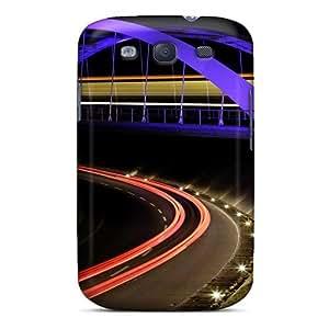 Excellent Design Bridge Road In Neon Phone Case For Galaxy S3 Premium Tpu Case