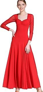 MoLiYanZi Robe de Bal pour Les Femmes Costume de Danse Costume de Formation Pratique Manches en Filet Valse Moderne Exécution Tenue de Danse