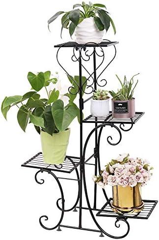 Malayas, Pflanzen-/Blumenständer aus Holz, Blumentopf-Regal, geeignet für den Innen- und Außenbereich, Ständer für 6 Töpfe, 96 x 95 x 25 cm 7mhj01-black