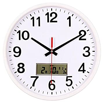 Reloj de pared Reloj creativos dibujo silenciar todas las ronda de calendario electrónico gran reloj de cuarzo, 1 relojes: Amazon.es: Hogar