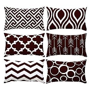 Topfinel 6er Set Kissenbezüge 40x40 cm Qualitäts Kissenhüllen in Baumwolle Leinen-Optik mit Geometrischen Mustern für…