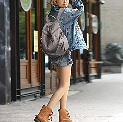 db479b885f23 ... UTO Women Backpack Purse 3 ways PU Washed Leather Rivet Studded Ladies  Rucksack Shoulder Bag 18000176 ...
