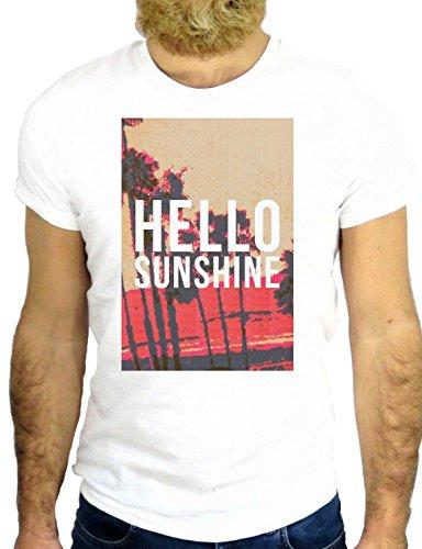 T SHIRT Z0420 HELLO SUNSHINE COOL CALIFORNIA SUNSET COOL VINTAGE AMERICA GGG24 BIANCA - WHITE S