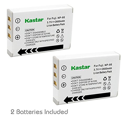Kastar FNP95 Battery (2-Pack) for Fujifilm NP-95 & Finepix F30, Finepix F31FD, Finepix Real 3D W1, Finepix X30, Finepix X100, Finepix X100T, Finepix X100LE, Finepix X100S, Finepix X-S1 and Ricoh DB-90