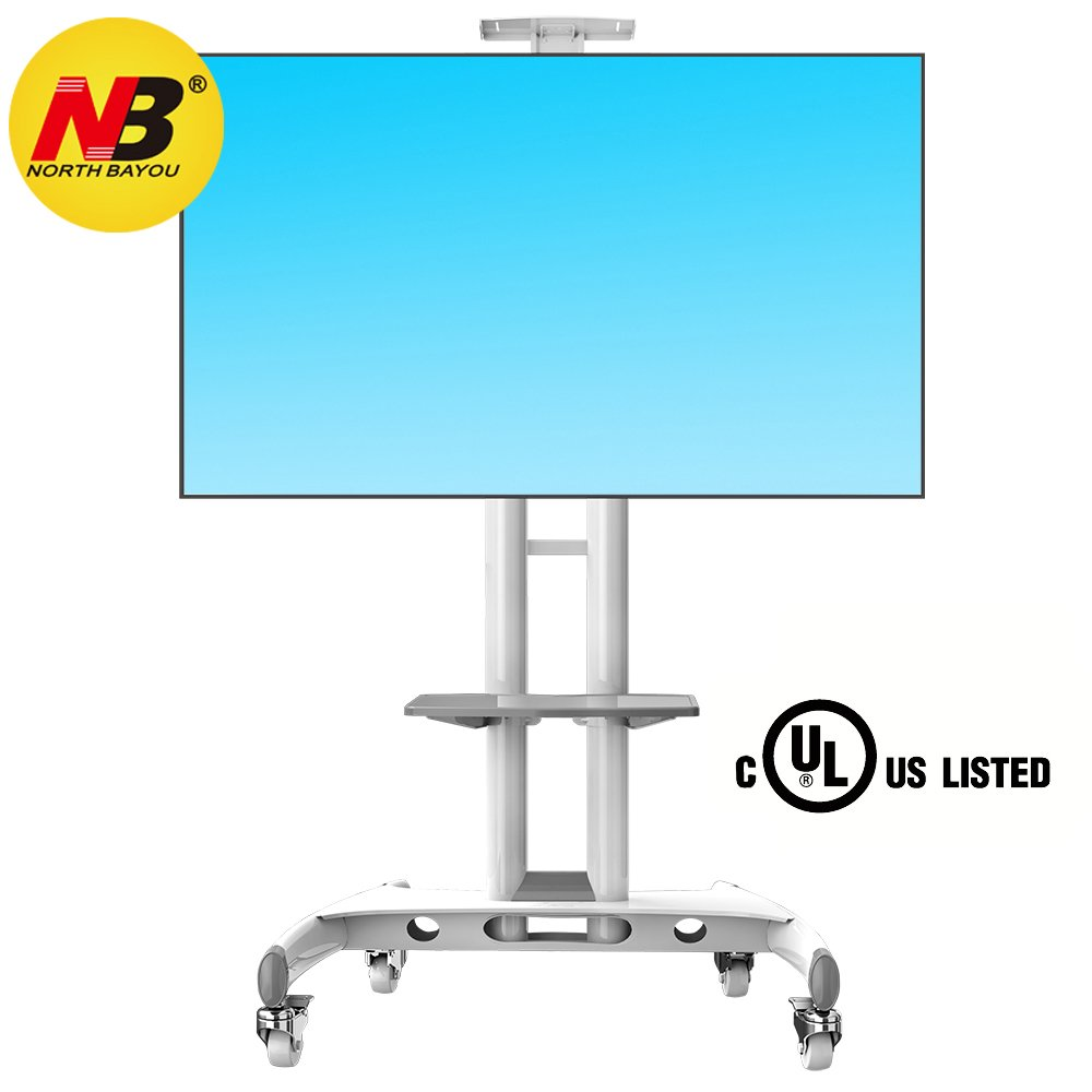 North Bayou Mobile TV Cart TV Stand with wheels for 32 to 65 inch LCD LED OLED Plasma Flat Panel Screens up to 100lbs AVA1500-60-1P (White)