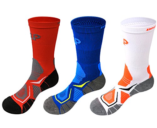 Boy's Sports Basketball Athletic Cushion Performance Calf High Crew Socks 3 Pack 1 White 1 Blue 1 Red (Lebron Outfit Christmas)
