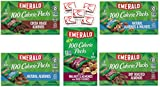 Emerald Nuts 100 Calorie Packs Variety Sampler of 35 Bags. 5 Different Flavors of Emerald Almonds and Walnuts, Cocoa, Dry, Natural Almonds, Cherry. Bundle of 5 Boxes, 7 Bags per Box.