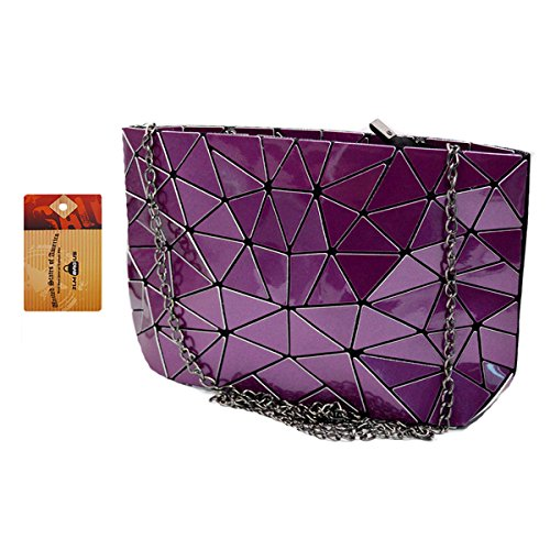 ZLM BAG US Fashion Hologram Laser Envelope Clutch Geometric Pattern PU Tote Handbag Metal Chain Shoulder Crossbody Bag Purple by ZLM BAG US