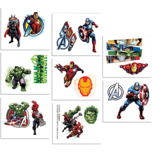[16-Piece Avengers Tattoos, Multicolored] (Incredible Hulk Costume Ideas)
