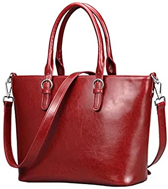 Heshe Womens Handbag Leather Shoulder Cross Body Tote Bags Satchel Handbags and Purses for ladies (Wine)