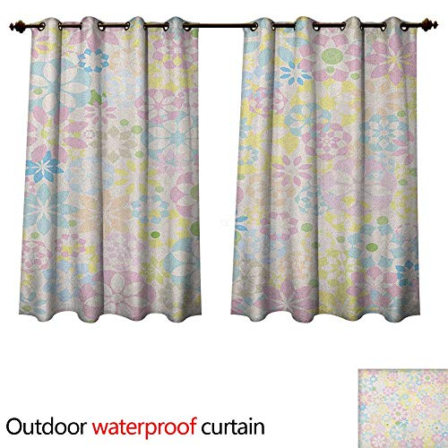 Anshesix Pastel Outdoor Curtain for Patio Blossoming Flowers Bedding Plants Spring Colors Botanical Colorful Meadow Theme W55 x L72(140cm x 183cm)