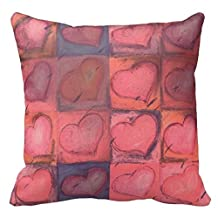 """18"""" x 18"""" Deep Pink Hearts Wedding Or Valentine Pillow Decorative Throw Pillow Case Cushion Cover"""
