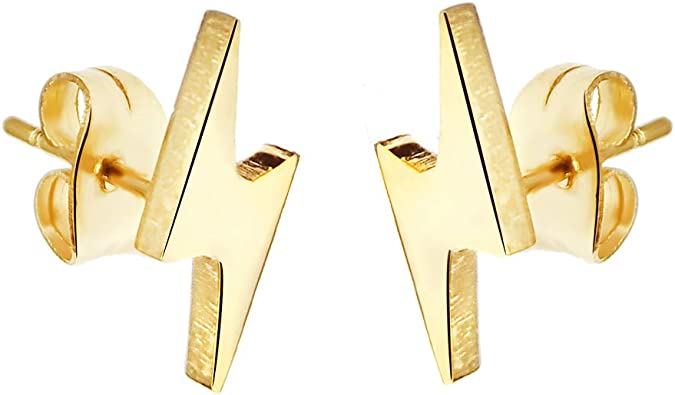 Amazon Com Lightning Bolt Flash Thunder Button Stud Stainless Steel Post Earrings Gold Jewelry