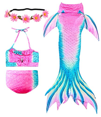 (Newland 3 Pcs Girls Swimsuit Mermaid Tails for Swimming Princess Bikini Bathing Suit Set for 3-12Y (120CM(5-6Y)-Size L, Pink))