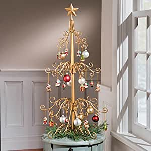 metal christmas tree 36 inch metal ornament tree gold 10899