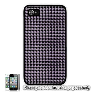 Purple Houndstooth Check Pattern Apple iPhone 4 4S Case Cover Skin Black