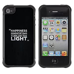 ZAAAZ Rugged Armor Slim Protection Case Cover Durable Shell - Happiness Message - Apple Iphone 4 / 4S