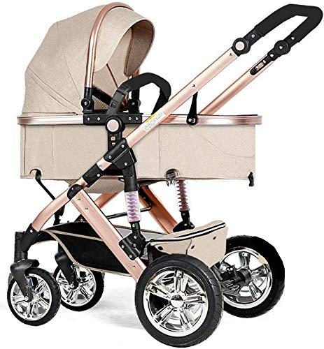Laz Pram Folding Baby Stroller, with 5 Point Safety System, Toddler Pram from Birth to 36 Months (Color : Khaki)