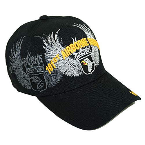Black Airborne Wing - US Military 82nd 101st 173rd Airborne Official Licensed Veteran Baseball Cap (101st Airborne Division Silver Wings- Black)