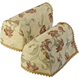 Classic Home Store Tropicana Decorative Jumbo Arm Cap Pair Floral Design Antimacassar Furniture Cover with Lace Trim
